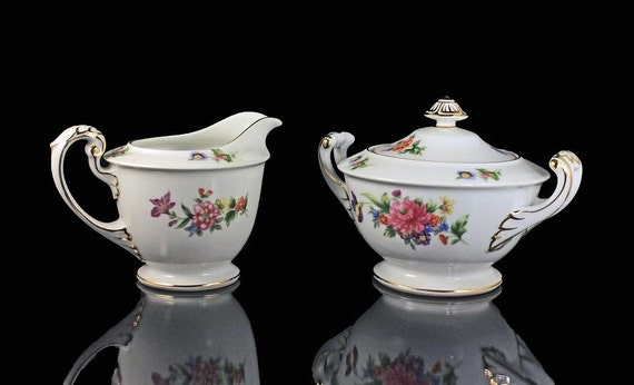 Sugar Bowl and Creamer, Occupied Japan, Sango China, Floradel Pattern, Multicolor Floral, Gold Trim