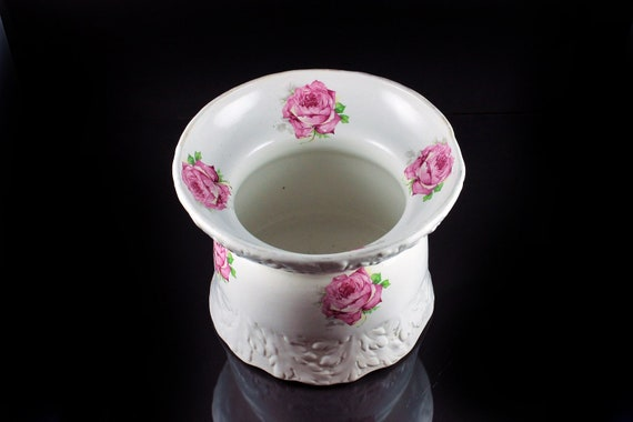 Flower Pot, Planter, Jardiniere, Rose Pattern, Large, Porcelain, Embossed