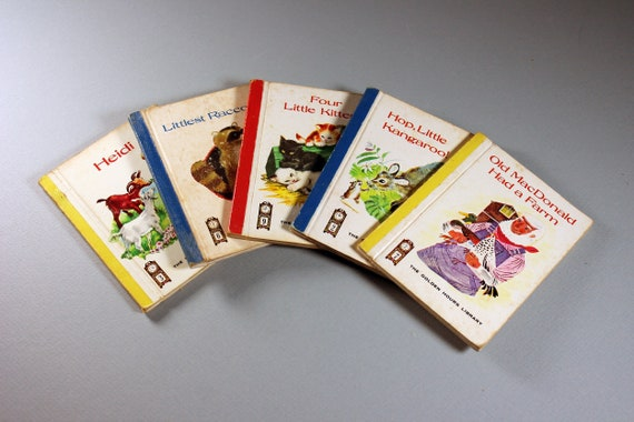 Mini Children's Books, Golden Hours Library, Set of 5, Short Stories, Collectible, Story Books