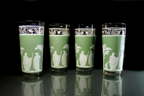 Jeanette Glass Flat Tumblers, Hellenic Green, 16 Ounce, Drinking Glasses