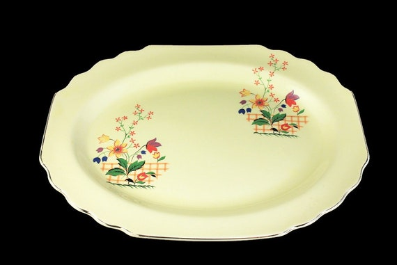 Oval Platter, W S George, Gaylea, Canarytone, Lido, Yellow Fence and Tulips, Serving Platter, Platinum Trimmed, Discontinued