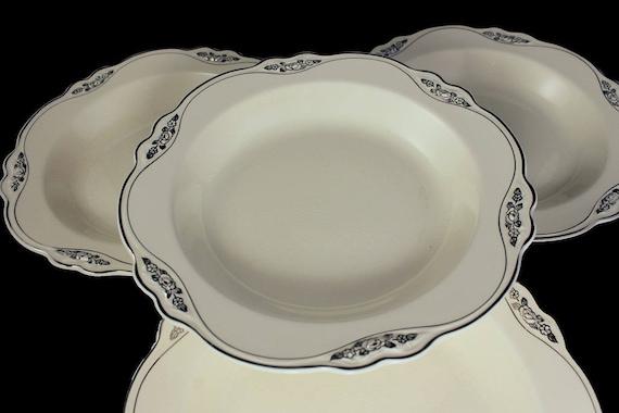Rim Soup Bowls, Homer Laughlin, Silver Rose-Patrician, Platinum Florals and Trim, Virginia Rose Shape, Set of 4, Fine China