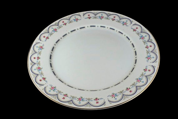 Chop Plate, Round Platter, M Fine China Of Japan, Chantilly, Blue and Pink Floral Pattern, Gold Trim on Edge