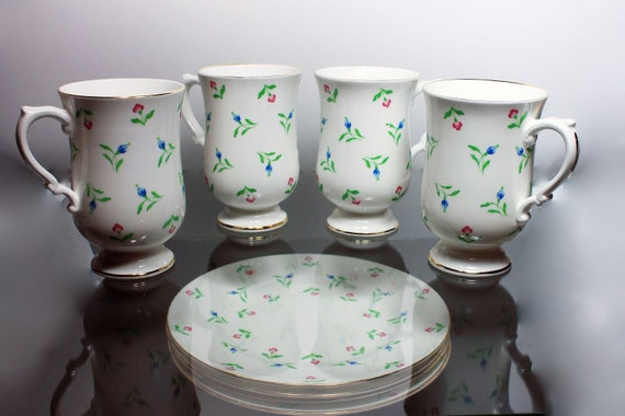 Dessert Mugs and Plates Set, Royal Victoria, 4 Mugs, 4 Salad Plates, Luncheon Set, Blue and Pink Floral China, Fine China