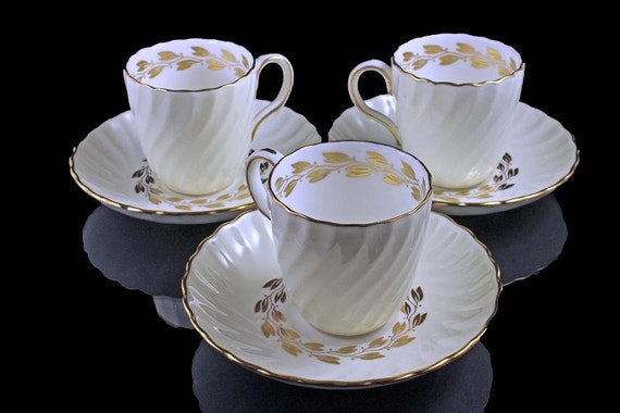 Demitasse Cup and Saucer, Minton, Bone China, Cheviot Gold, Set of 3