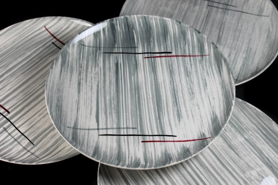 Dinner Plates, Prim Rose China, Gray Stripes, Hand-Painted, Set of 4, Avant-Garde, Art Deco