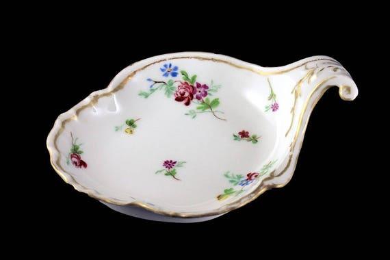 Antique Leaf Shaped Bowl, Charles Field Haviland, France Limoges, Hand Painted, Gold Trimmed, Trinket Bowl, Candy Bowl, Handled Bowl