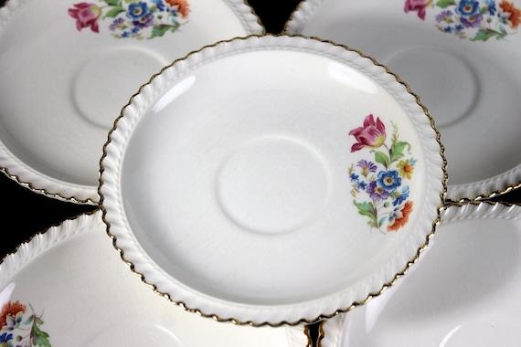 Saucers, Harker Pottery Co, Set of 5, Floral Center, 22K Gold Trim, Fine China