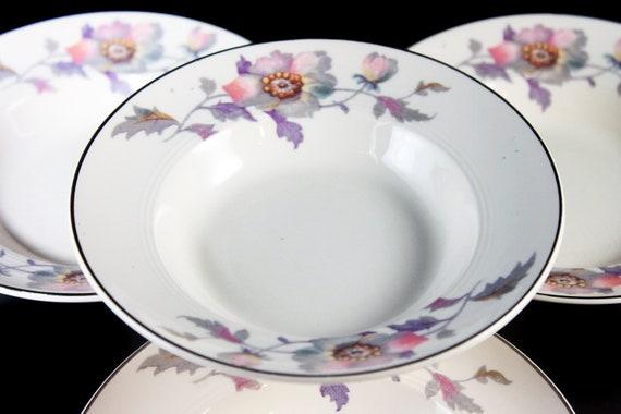 Fruit Bowls, Symphony by Salem, Platinum Gold, Floral Pattern, Set of 4, Serving Bowls, Porcelain