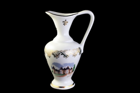 Miniature Souvenir Pitcher, R F France, Chaumont, White and Gold, Collectible