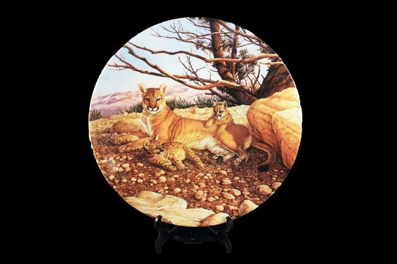 1989 Collectors Plate, Edwin M. Knowles, Great Cats, The Cougar, Limited Edition, Decorative Plate, Wall Decor, New In Box