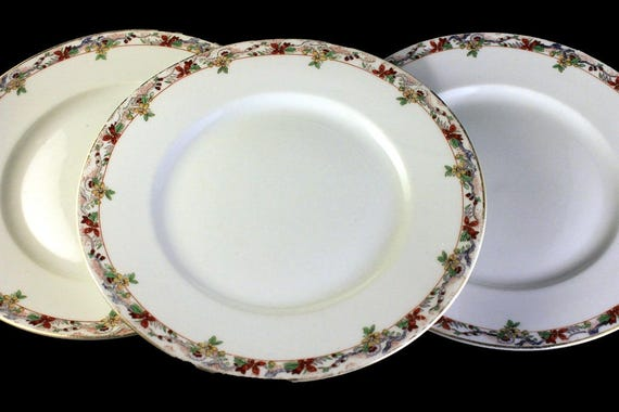 Dinner Plates, B & C, Limoges France, Bernardaud, Set of 3, Yellow and Orange Floral, Fine China