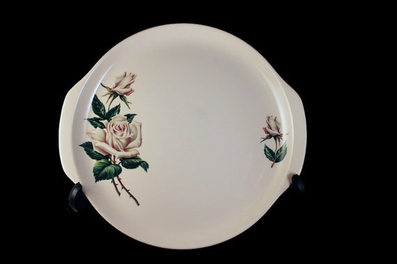 Cake Plate, Universal Pottery, Ballerina, White Rose Pattern, Made in USA, Porcelain, Chop Plate, Platter