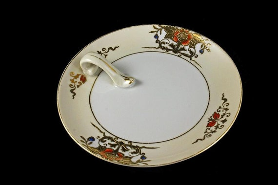 Noritake Lemon Dish, Plate With Handle, Lemon Tray,  Gold Gilt Flower Design