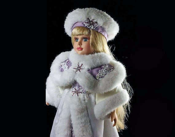 Brass Key Doll, Victorian Rose, Collectible Doll, Porcelain Doll, Winter Dressed, Holiday, Blue Eyes, 17 inch