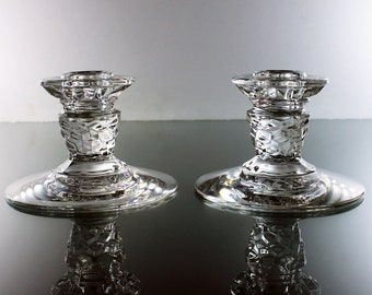 Fostoria Candlesticks, American Clear, 3 Inch Tall, Candle Holders, Pair, Clear Cubed Glass, Red Taper Candles Included