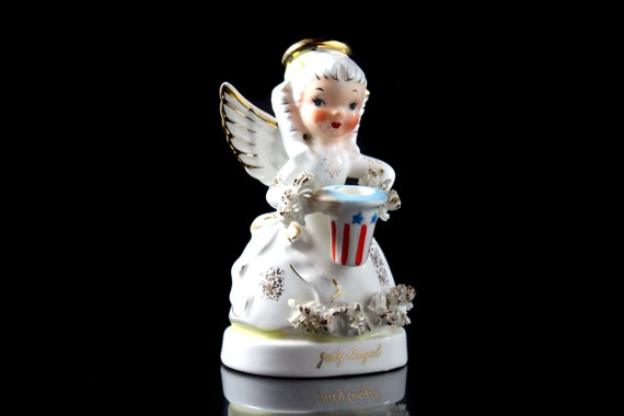 Napco July Angel Figurine, Angel of the Year Collection, Collectible, Porcelain, Angel with Hat