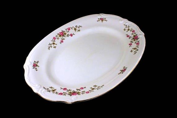 Oval Platter, Chodziez Poland China, Linda Pattern, Pink Roses, Embossed, Serving Platter, Gold Trimmed