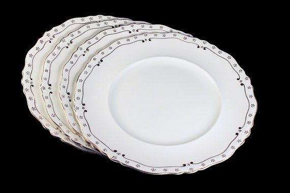 Antique Dinner Plates, Johnson Bros., White With Gold Trim, Set of 4, Made In England, Collectible, Rare, Ironstone