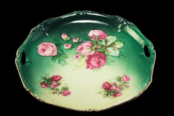Antique Cake Plate, Unsigned, Pink Roses, Gold Trimmed, circa. 1909 - 1916, Green and Pink, Display Plate