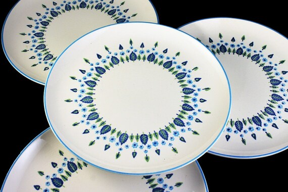 Marcrest, Dinner Plates, Swiss Alpine, Blue and White, Leaves and Flowers, Made in USA, Porcelain, Set of 4
