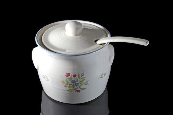 Pfaltzgraff Soup Tureen and Ladle, Perennials Medley, 3 Quart, Cream Color, Discontinued
