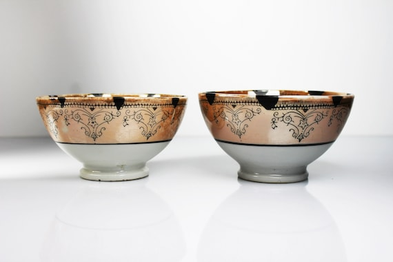 Rice Bowls, Lusterware, Made in Japan, Orange and White, Set of Two, Porcelain, Handpainted