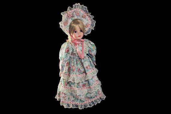 Collectible Porcelain Doll, Victorian Floral Dress, Blonde Doll, Display Doll, Stand Included, 16 Inch Doll