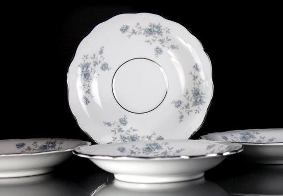 Saucers, Johann Haviland, Blue Garland, Bavarian Backstamp, Floral Pattern, Set of Four, Fine China, Discontinued