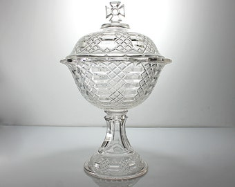 EAPG Covered Compote Bowl, Bryce Walker and Co., Imperial, Maltese Cross, Pressed Glass, Ladder and Diamond, 1870s, Centerpiece, Antique