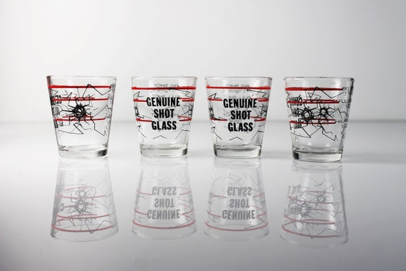 Genuine Shot Glasses, Measurements, Bullet Hole Design, Clear Glass, Pryo-Glazed, Set of 4, Collectible, Barware