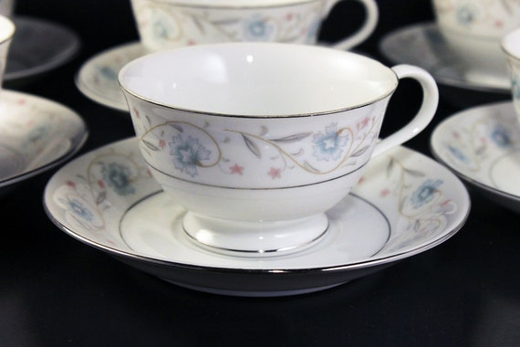 English Garden Cups and Saucers, Platinum, Tea Cups, Footed Cups, Fine China, Japan, Set of 6
