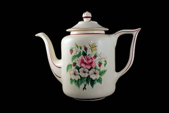 Teapot with Lid, Knowles , Floral Fruit and Butterfly Pattern, Large 5 Cup