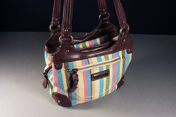 Small Striped Handbag, Rosetti, Purse, Designer Bag, Inside Zipper, Faux Leather