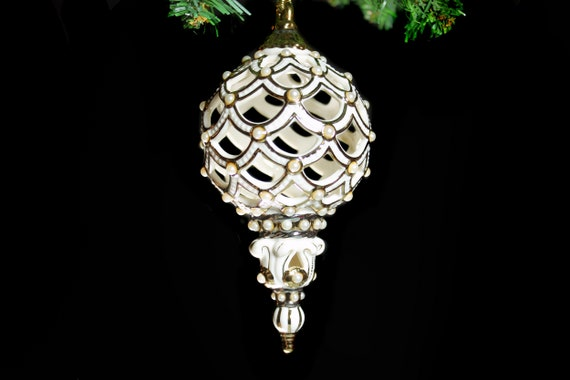 Lenox Christmas Ornament, Florentine and Pearls, Spire Ornament, Holiday Decor, Holiday Decoration, Giftware, Original Box