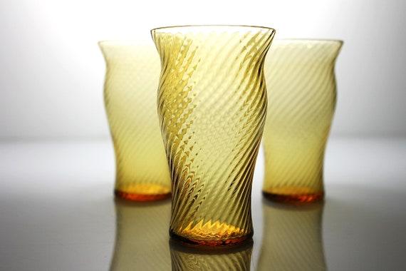 Amber Swirl Juice Glasses, Set of 3, Drinking Glasses, Twisted Optic