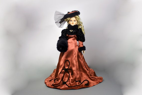 Collectible Porcelain Doll, Victorian Dress, Antique Rose Colored Dress, Display Doll, Stand Included, 17 Inch Doll