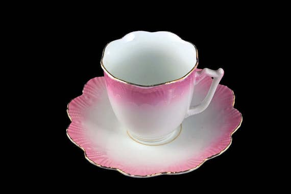 Antique Teacup and Saucer, P. K. Silesia, Pink and White, Scalloped Edge, Circa. 1914-1918, Gold Trimmed, Flower Shaped