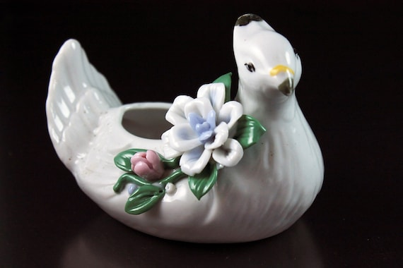 White Bird Mini Planter, Raised Flowers, Figurine, Porcelain, Collectible