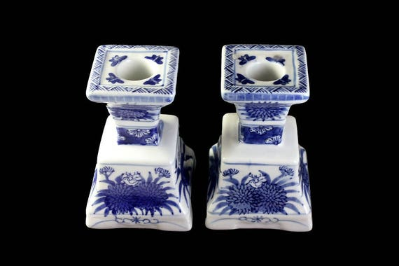 Candle Holders, Candlesticks, Set of 2, Flowers and Butterflies, Blue and White,  Candles Included