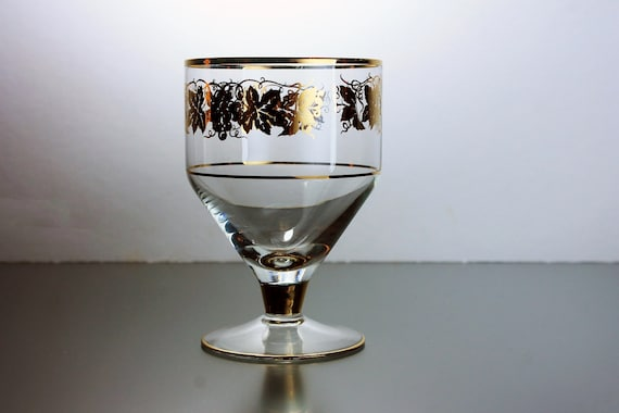 Crystal Wine Glass, Gold Grapevine Pattern, Cocktail Stemware, Gold Gilt, Barware