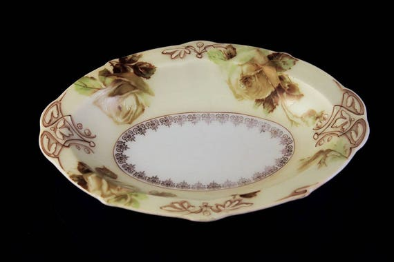 Antique Oval Relish Dish, Hermann Ohme, Old Ivory XVI, Silesia, Germany, Clairon Shape, Rose Pattern, Brown Scrolls, Fine China, Gold Trim