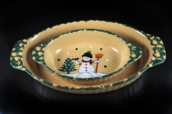 Casserole Bowls, LTD Commodities, Snowman Pattern, Serving Bowls, Holiday Serving Bowls, Set of 2