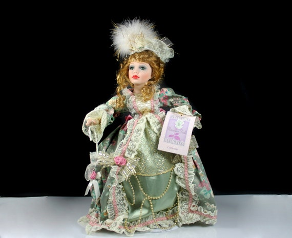 Collectible Memories Porcelain Doll, Catherine, Victorian 17 Inch Doll, Display Doll, Stand Included