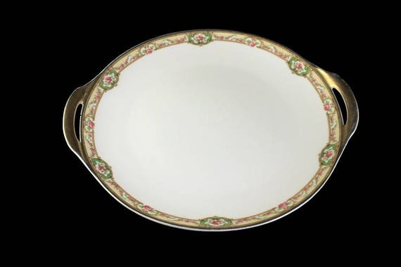 Antique Cake Plate, Theodore Haviland, Limoges France, The Belfort, Hard To Find, Rose Cameo, Gold Trimmed