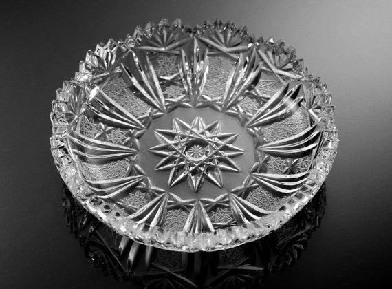 Antique American Brilliant Bowl, Leaded Crystal, Cut Glass, 6 Inch, Collectible