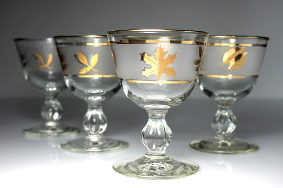 Liquor Cocktail Glasses, Libbey Glass Company, Golden Foliage Pattern, Set of 4, Frosted Glassware, Barware, Discontinued