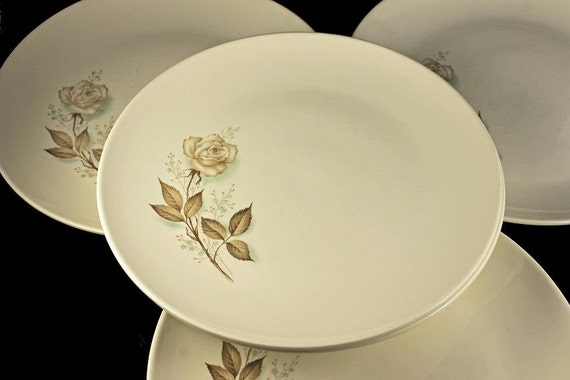 Mount Clemens, Dinner Plates, Brown Rose, Hard to Find Pattern, Floral Pattern, Set of 5
