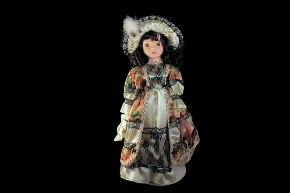 Collectible Porcelain Doll, The Rose Collection, 16 inch Doll, Display Doll, Stand Included, Victorian Dress, Black Lace