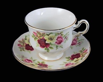 Footed Teacup and Saucer, Queen Anne, Bone China, Multi-Floral, Gold Trim, Made in England, Pattern #8501